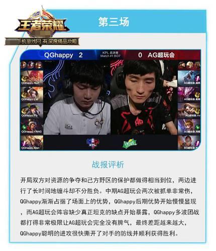 王者荣耀KPL春季赛总决赛QGhappy vs AG超玩会第3场视频回放[图]