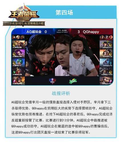 王者荣耀KPL春季赛总决赛QGhappy vs AG超玩会第4场视频回放[图]