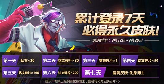 王者荣耀9月12日-9月20日每日登陆奖励一览[图]