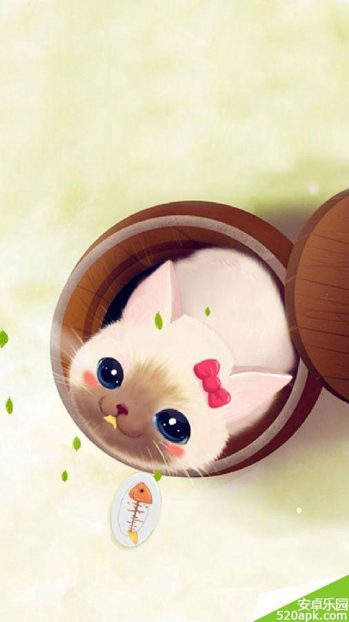 呆萌猫咪卡通图片手机壁纸720*1280[多图]