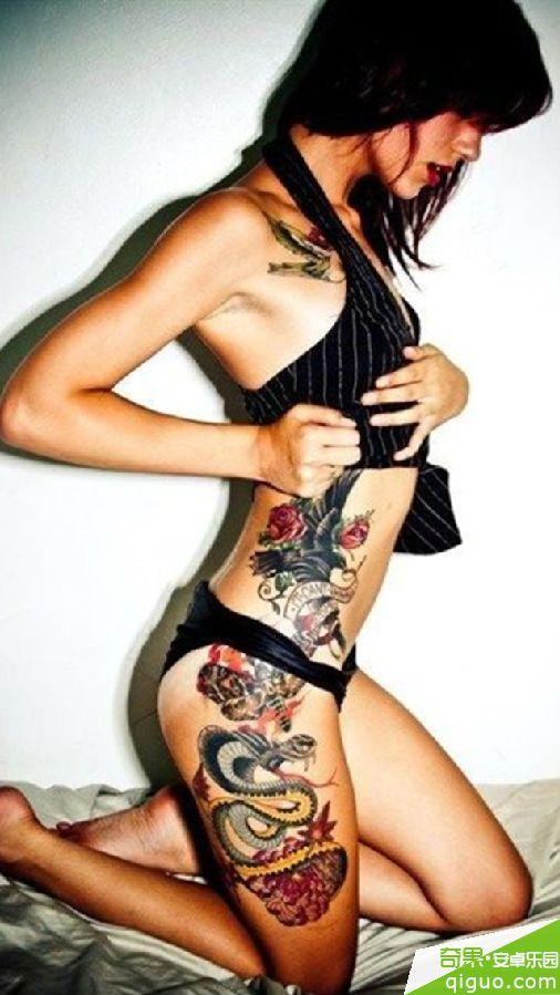 欧美纹身美女手机壁纸640*1136[多图]